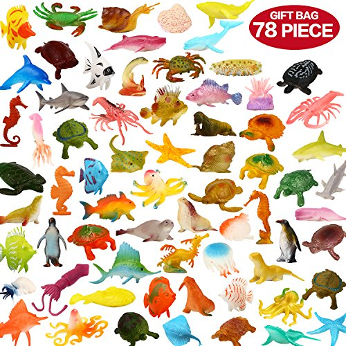 Ocean Sea Animals, 78 Piece Mini Sea Life Creatures Toys Set, ValeforToy Plastic Underwater Sea Animals Learning Toys For Boys Girls Kids Toddlers Party Bag Stuffers, Gift, Prize, Piñata, Sensory Toy (Life Miniatures Sea)