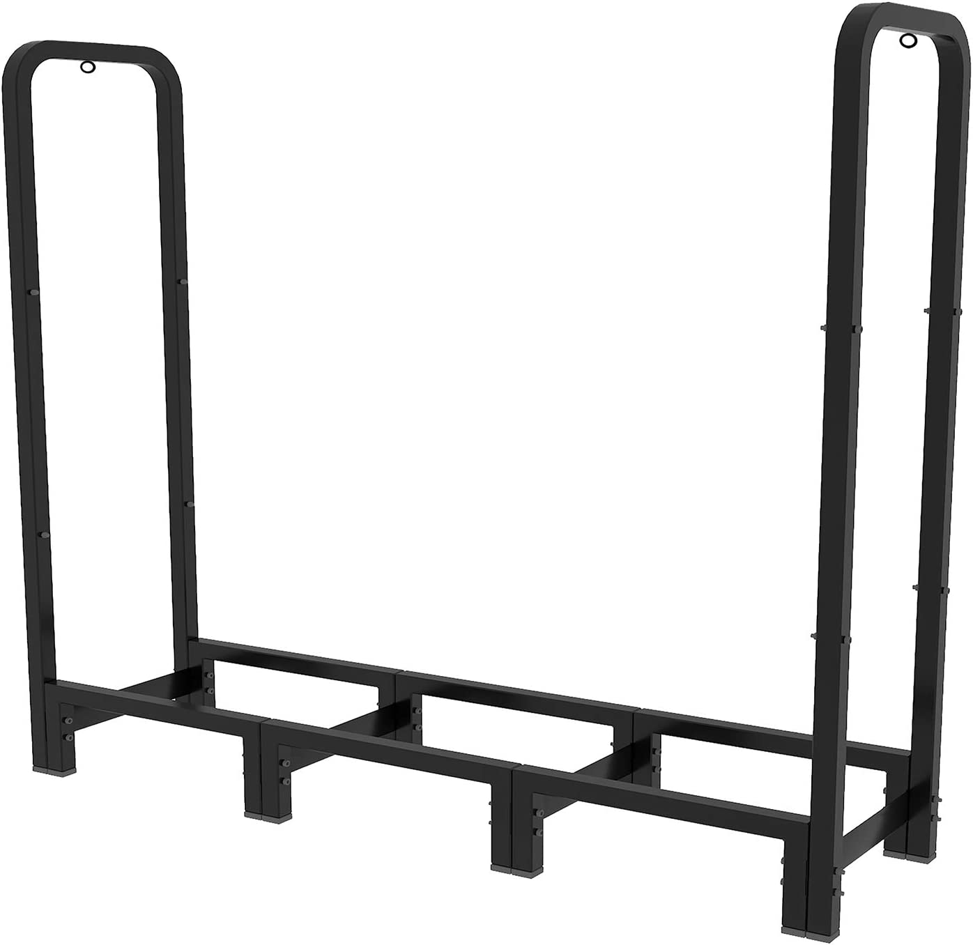 Artibear 4ft Outdoor Firewood Rack, Upgraded Adjustable Heavy Duty Logs Stand Stacker Holder for Fireplace - Metal Lumber Storage Carrier Organizer, Black