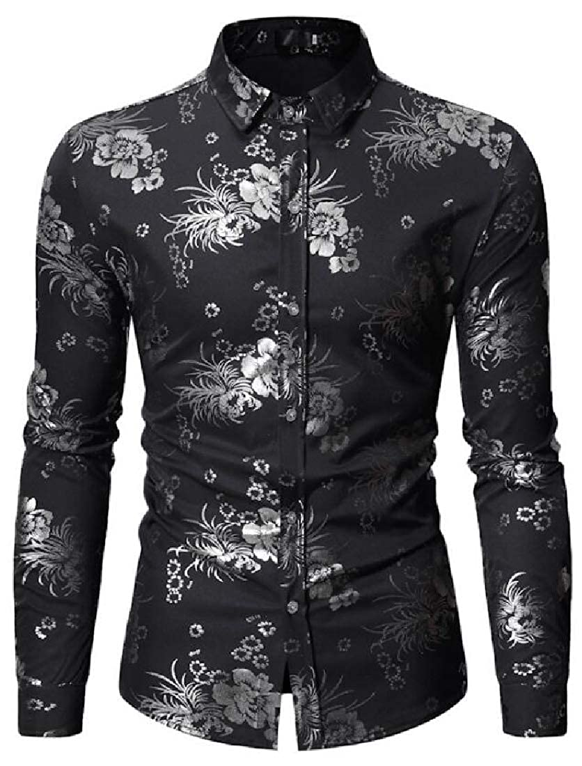 UUYUK Men Slim Fit Floral Print Vogue Long Sleeve Turn Down Collar Button Down Blouse Shirt