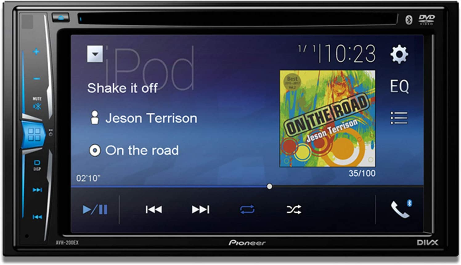 Pioneer AVH-200EX Multimedia DVD Receiver with 6.2 WVGA Display, and Built-in Bluetooth