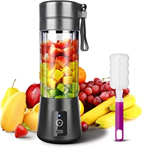 YKSINX Portable Blender, Smoothie Juicer Cup, Personal Mini Blender for Smoothies, Shakes- Six Blades in 3D, 380ml, 13oz 2000mAh Powerful USB Rechargeable Home Travel Handheld Fruit Juicer (Black)