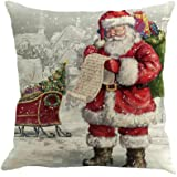 """Clearance!Christmas Pillow Cases,Sothread Tree Car Printed Linen Throw Pillow Cases Sofa Cushion Cover Home Party Decoration 18"""" (H)"""
