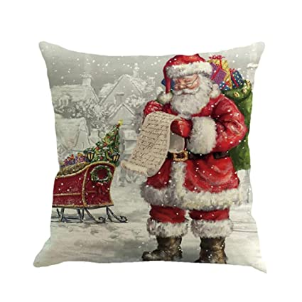 christmas pillow casessothread tree car printed linen throw pillow cases sofa cushion - Christmas Decorative Pillows