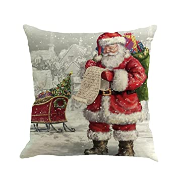 Sothread Christmas Throw PillowCase Decor Sofa Cushion Cover Santa Claus  18u0026quot ...