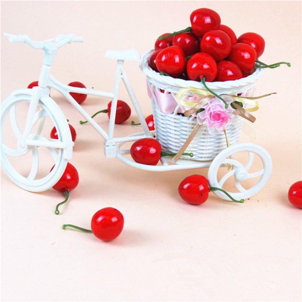 Romote Naisi 36PCS Nueva falso frutas artificiales realistas de simulaci/ón Cerezas rojas por un hogar modelo de cocina decoraci/ón del hotel