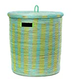 African Aqua & Lime Green Line Basket with Flat Lid