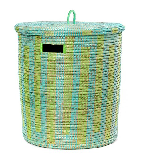 African Aqua & Lime Green Line Basket with Flat Lid by Swahili Modern