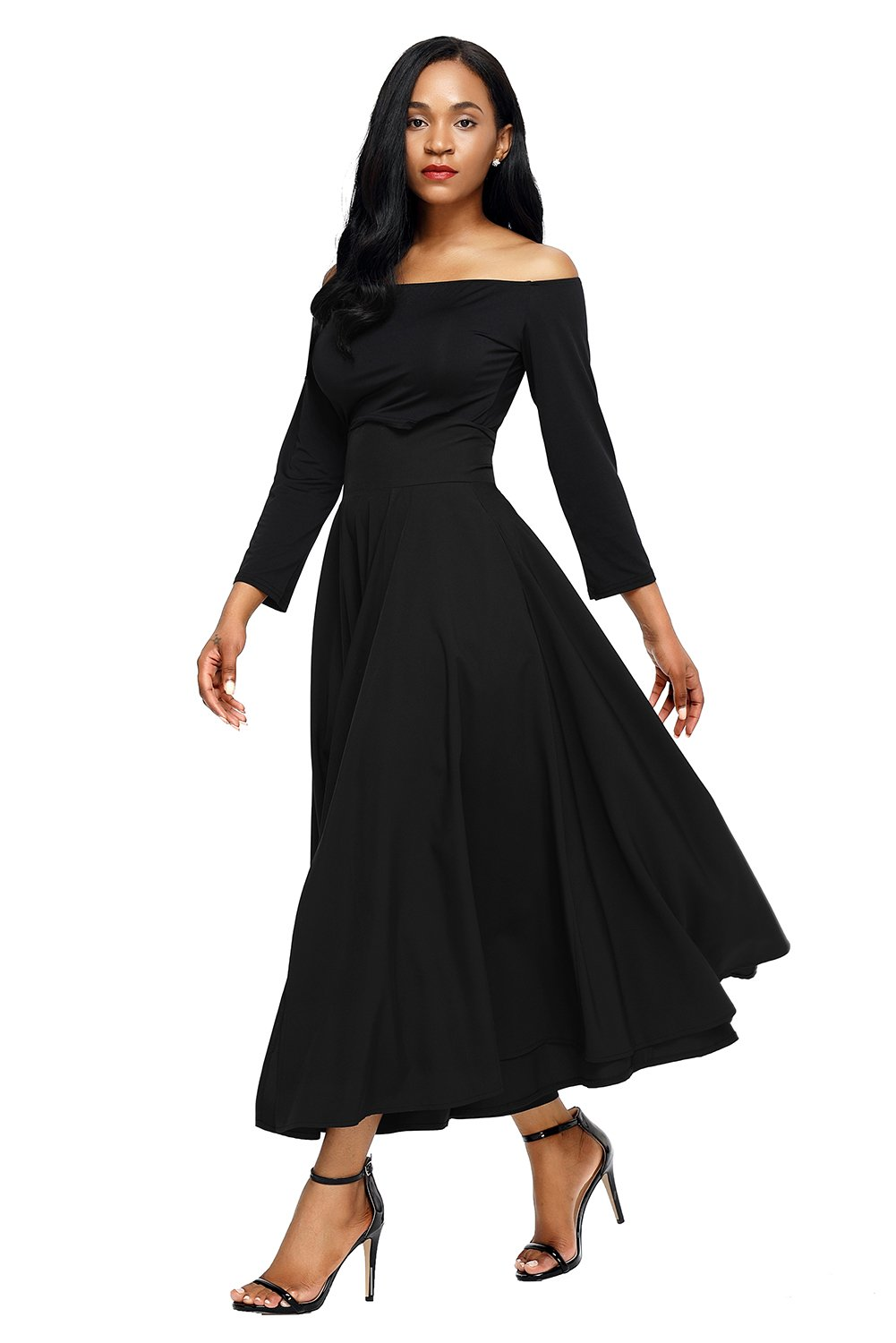 a1f310569ac Asvivid Women s Solid High Waisted Full Midi Skirt Pocket Long Skirt Dresses  XX-Large Black - AF65053-2-XXL-C   Casual   Clothing
