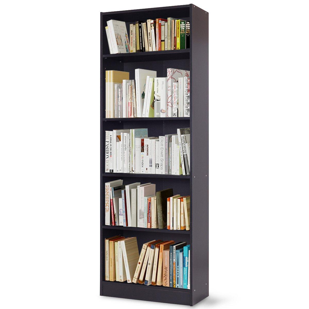 TANGKULA 5-Shelf Bookcase Modern Wood Multipurpose Collection Display Storage Shelves Black