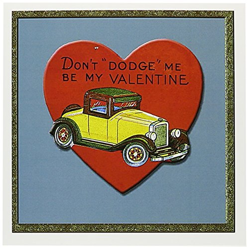 3dRose Dont Dodge Me by My Valentine Antique Car Heart Shaped Card Greeting Cards, 6 x 6 Inches, Set of 6 (gc_170005_1)