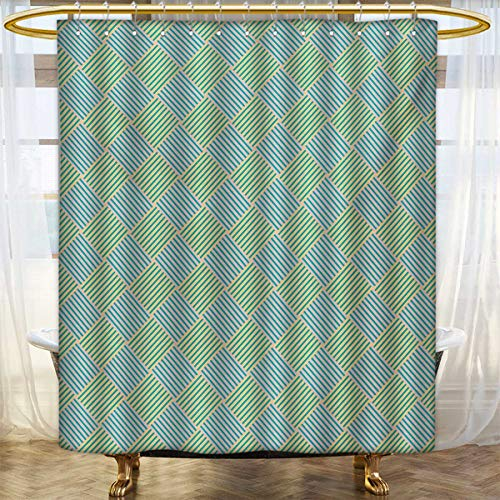 Oasis Satin Striped - lacencn Geometric,Shower Curtains Mildew Resistant,Diagonally Striped Squares Diamond Line Modern Checkered Pattern,Satin Fabric Bathroom Washable,Turquoise Yellow and Pink,Size:W48 x L72 inch
