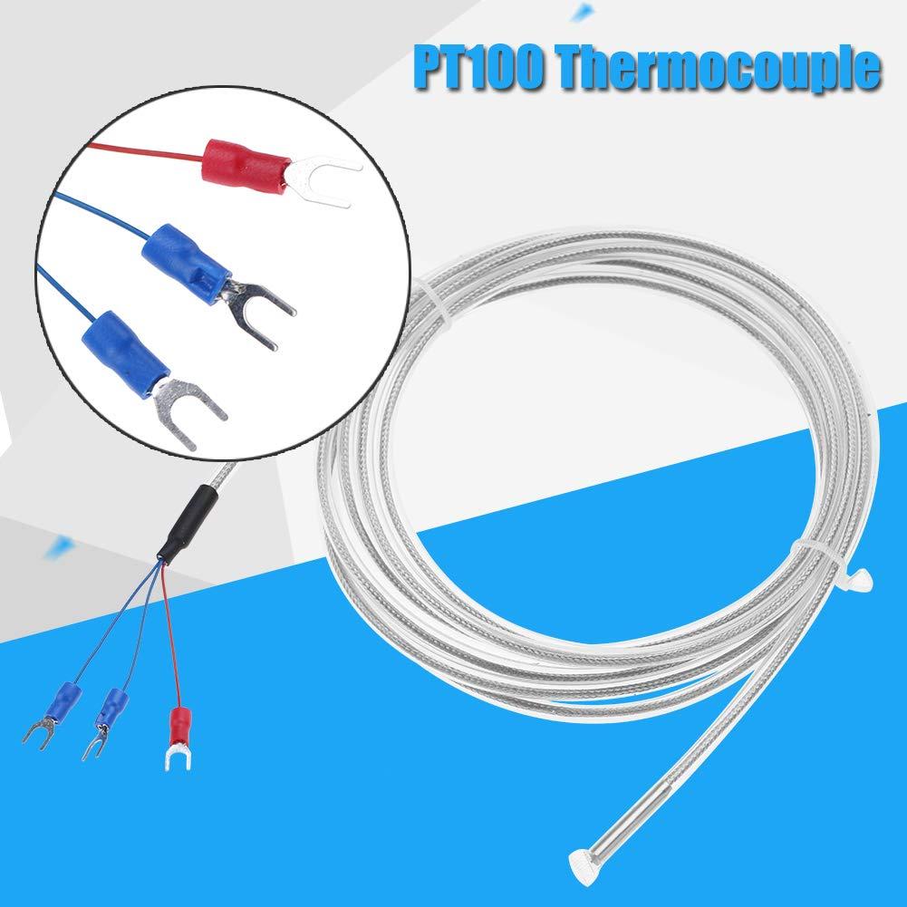 Sonda per sensore di temperatura 3 fili 5m//16ft Cavo Mini-connettore Termocoppia Termometro PT100 Impermeabile Anticorrosivo//acido Resistente agli alcali Accessori per sensori di temperatura 16ft0-20