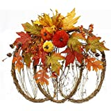 "Grapevine Pumpkin with Fall Decor Front Door Wreath 18.5"" wide : HA1700"