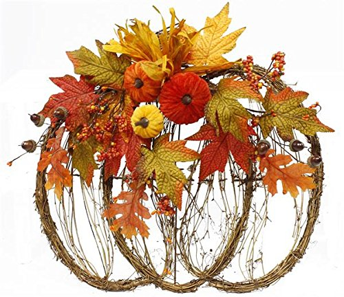 Grapevine Pumpkin with Fall Decor Front Door Wreath 18.5'' wide : HA1700 by Craig Bachman