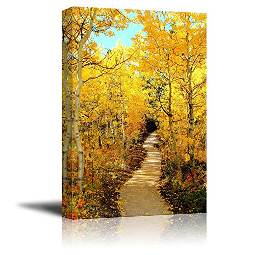 Canvas Prints Wall Art - Beautiful Autumn Scenery Colorful Fall Foliage Framing a Autumn Scene Along the River | Modern Wall Decor/ Home Decor Stretched Gallery Wraps Giclee Print - 32