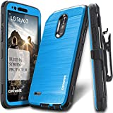 LG Stylo 3 / Stylo 3 Plus Case, COVRWARE [Iron Tank] Built-in [Screen Protector] Heavy Duty Full-Body Rugged Holster Armor [Brushed Metal Texture] Case [Belt Clip][Kickstand] for LS777, Blue