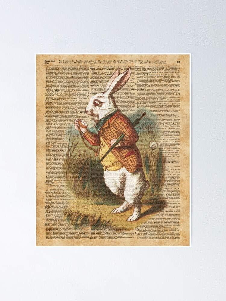 Situen White Rabbit A.l.i.c.e In Wonder Land Vintage Art Poster - Para decoración de sala de juegos, impresión infantil, arte de pared de guardería, habitación imprimible Aldult Decor.