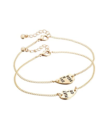 957e5a6e19 Young & Forever Partners in Crime Split Love Heart Bracelets for Women  /Girls