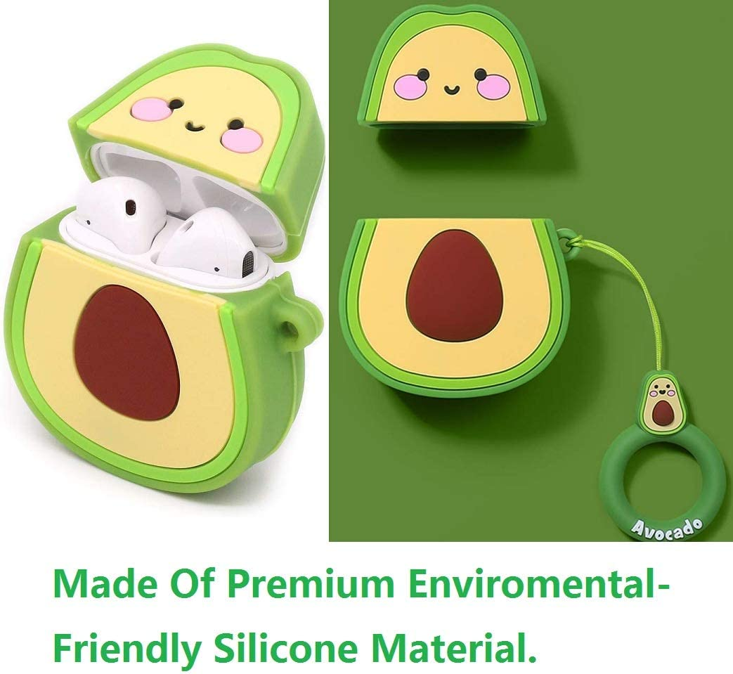 Best Gift for Girls or Couples Avocado Bear Flyingstar Silicone Case Funny Cute Cover Compatible with Apple Airpods 1/&2 2 Pack