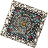 Unisex, Antique Pewter Quilter's Dream Square Brooch Pendant + FREE CHAIN + FREE GIFT BAG