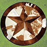 High Quality Cowhide Rug Leather Cow Hide Steer Patchwork Area Round Carpet Cowskin Rugs - Orientals Egyptian