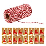 Gosear 1 Roll of 100 Yard 2 Strand Cotton Twine String Cord Rope + 100 PCS 2 Styles Kraft Paper Christmas Gift Tags For DIY Xmas Present Wrap Quilting Scrapbooking DIY Crafts