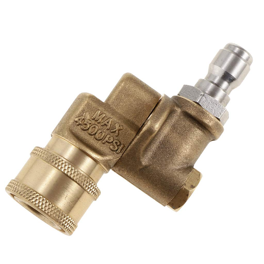 B Blesiya Quick Connecting pivoting Coupler for Pressure washers nozzles Cleaning high-Pressure to get Hard to Reach Areas 4500PSI 1/4'' Plug 90 Degree