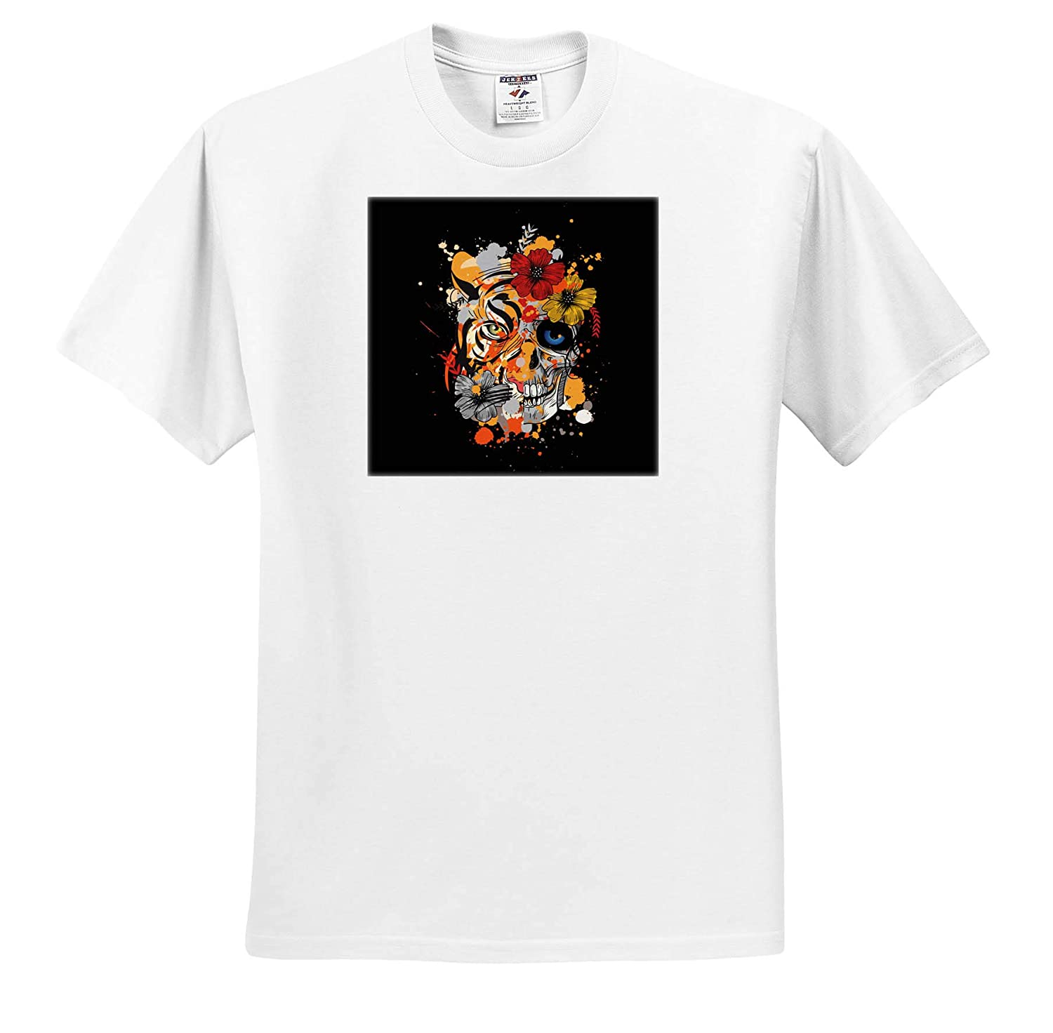 Adult T-Shirt XL 3dRose Sven Herkenrath Animal Dreaming Head of Skull with Tiger Wildlife Animal and Hibiscus ts/_320732