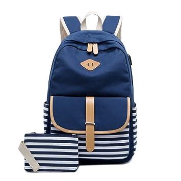 Mochila de mujeres, linda mochila escuela de lona Bookbag mochila de viaje del mochila para ordenador portátil las muchachas del adolescente (Azul): ...