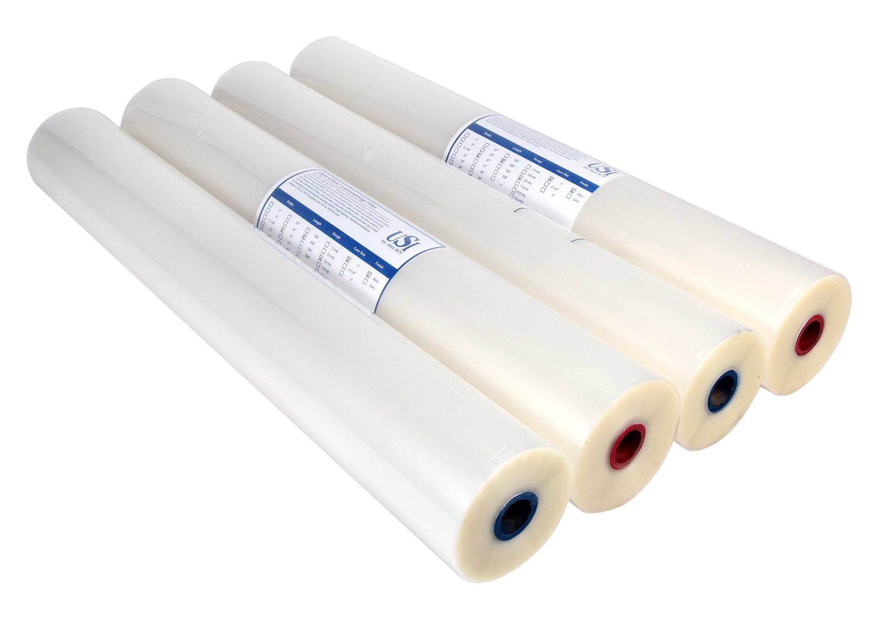 USI Opti Clear Premium Thermal Low-Melt EVA Roll Laminating Film, 1 Inch Core, 3 Mil, 27 Inches x 250 Feet, Clear Gloss, 4 Rolls by USI