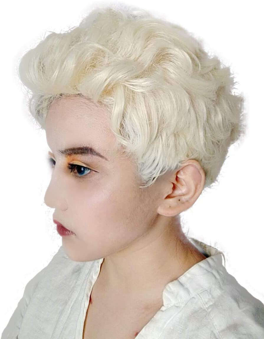 Aziraphale Wig Good Omens Angel Cosplay Wig Short Curly Hair White Grey Silver Wigs Movie
