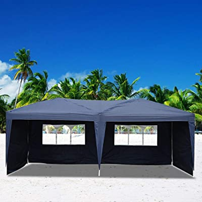 Festnight 10ft x 20ft Garden Outdoor Gazebo Canopy with 4 Sides Removable Walls and 2 Window Folding Waterproof Patio Party Wedding Tent with Carrying Bag BBQ Shelter Pavilion Cater Events Blue: Sports & Outdoors
