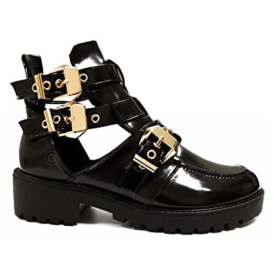 790c460a494 WOMENS LADIES GOLD TRIM BUCKLES CHUNKY CUT OUT CHELSEA ANKLE BIKER BOOTS  SHOES  Amazon.co.uk  Shoes   Bags
