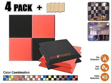 Acepunch 4 Paquete NEGRO & ROJO Bisel Plano Espuma Acústica Panel DIY Diseño Estudio Sonar Insulation