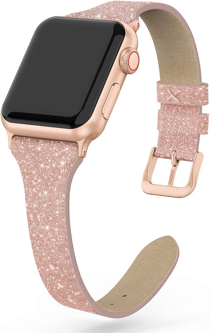 SWEES Leather Band Compatible for iWatch 38mm 40mm, Shiny Bling Glitter Matte Slim Thin Elegant Genuine Leather Strap Compatible with iWatch Series 6 5 4 3 2 1 SE Women, Glistening Rose Gold