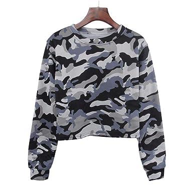 Elégante Casual Longra Crop Tee O Patchwork Camouflage Haut Blouse T Tank Sweat Tunique Chemise Longue Tops Femmes Shirt Cou Manche ZxqTrHZg