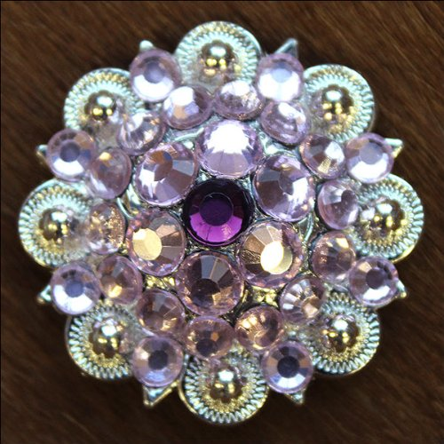 CN05 SET OF 4 PINK PURPLE CRYSTALS 1-1/4in. BERRY CONCHO RHINESTONE SADDLE (Pink Rhinestone Concho)