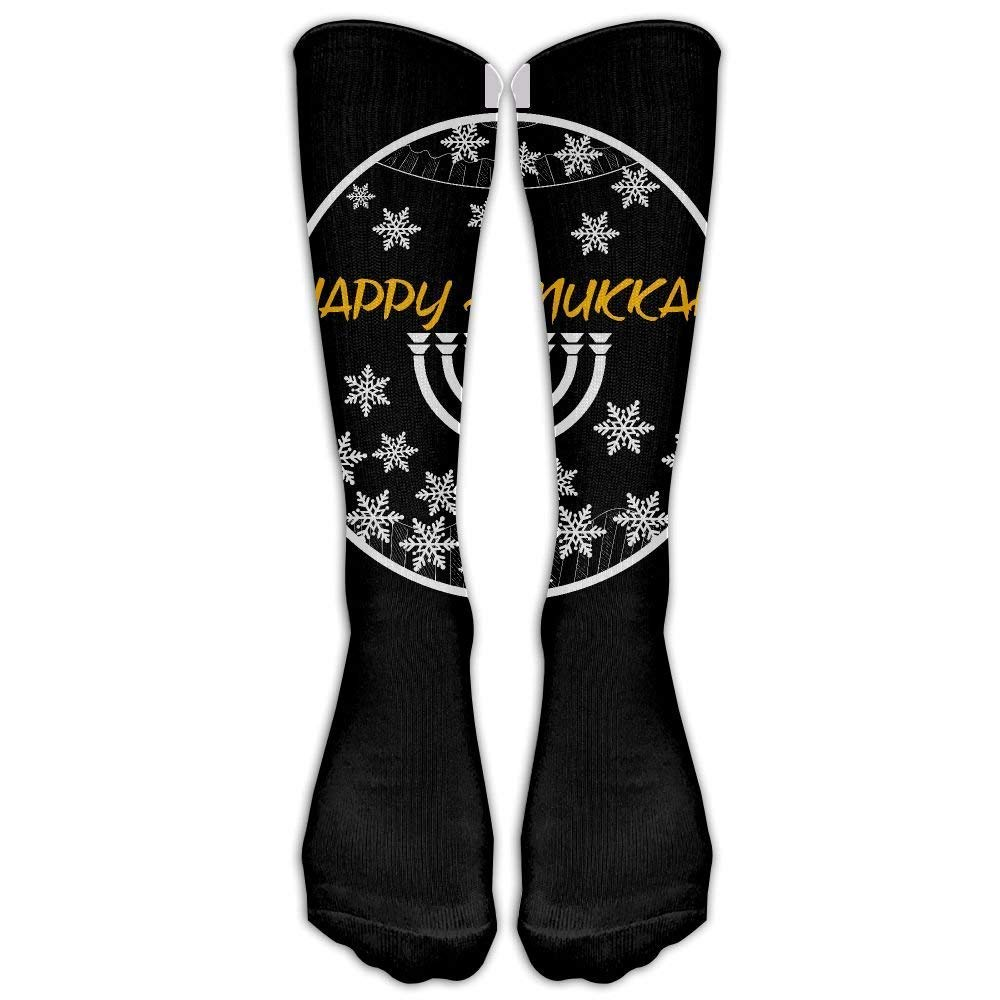 380bc8be7ec Amazon.com  Happy Hanukkah Lights Merry Christmas Custom Knee High Socks  Football Baseball Long Stockings For Men Women  Clothing