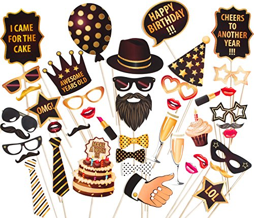 ZEZAZU Happy Birthday Party Photo Booth Props Funny DIY Kit 44 Pieces Luxury Edition With Real Glitter