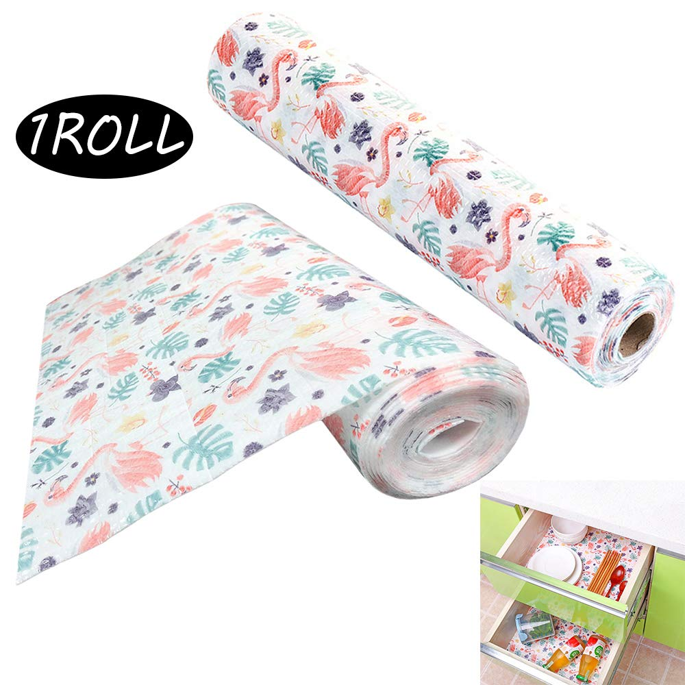 """Macute Drawer and Shelf Liner Non Adhesive Roll (12""""x 120"""" Size) Anti-Slip& Oil-proof Refrigerator Mat for Drawers, Shelves, Cabinets, Storage, Kitchen and Desks Flamingo Patterns for Home Decor"""