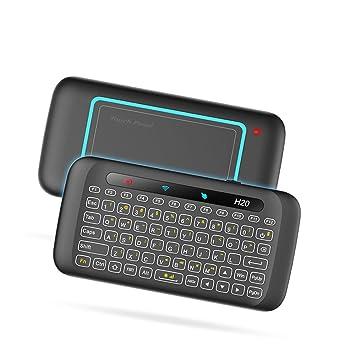 Docooler Teclado inalámbrico de 2.4GHz Retroiluminación de colores Panel táctil Control remoto portátil w/Panel táctil grande IR Aprendizaje para Smart TV ...