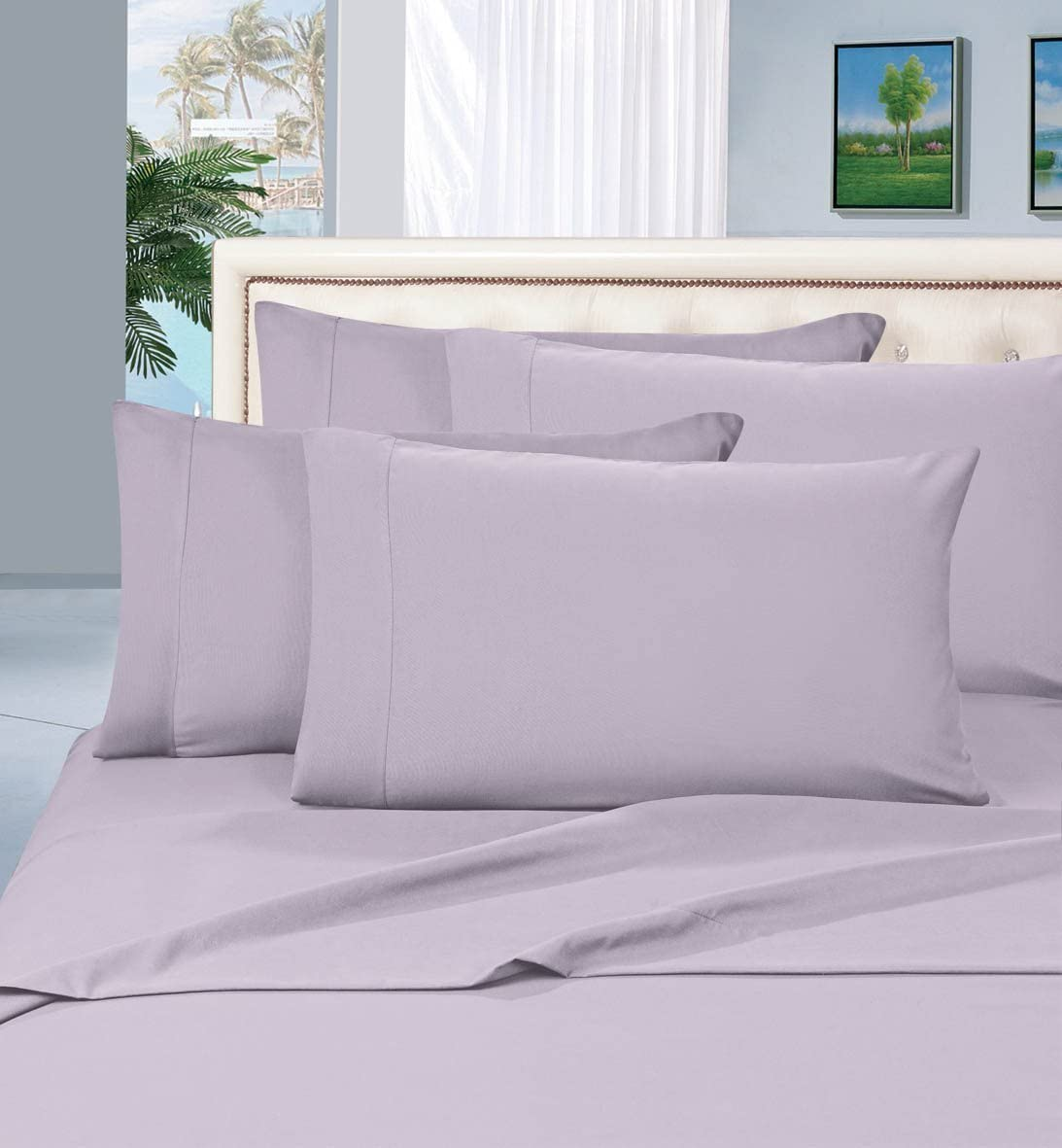 Luxurious Bed Sheets Set on Amazon! Elegant Comfort1500 Thread Count Wrinkle,Fade and Stain Resistant 4-Piece Bed Sheet Set, Deep Pocket, Hypoallergenic - Queen Lilac