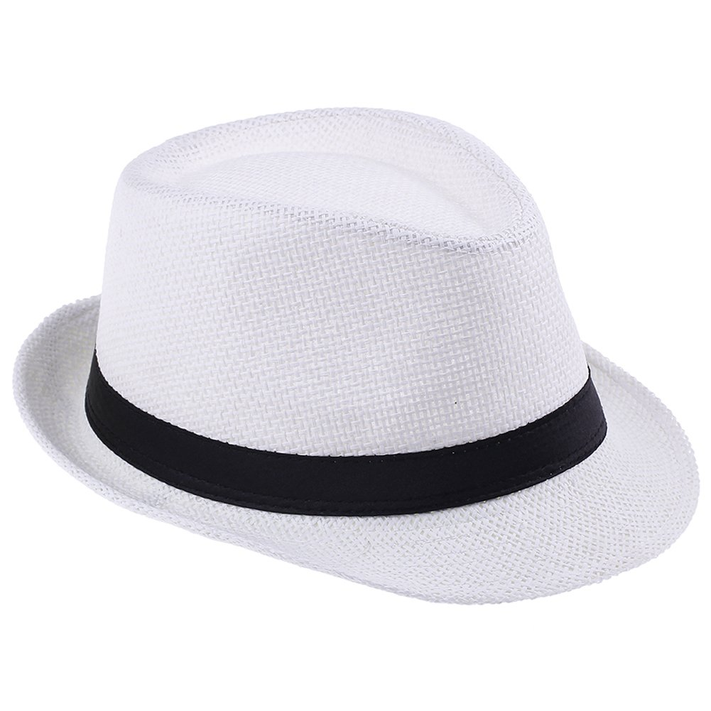JTC Women Men Straw Fedora Trilby Gangster Hat Summer Beach Panama Jazz Cap---White