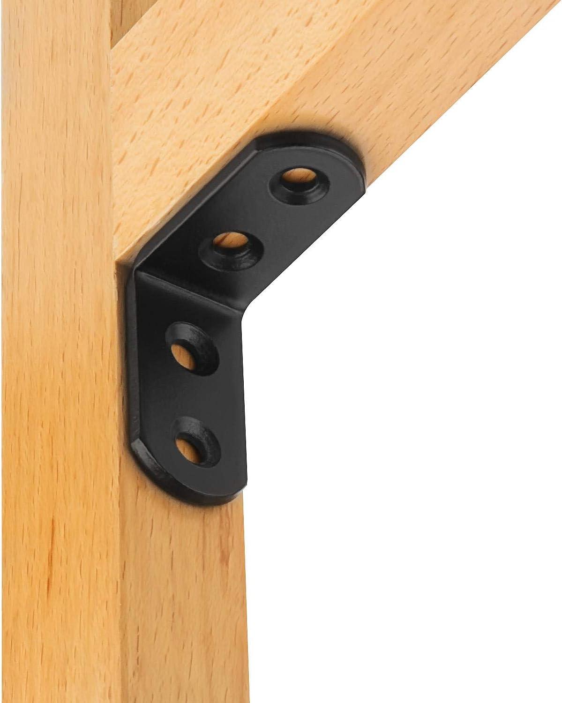 Schwarz 40 x 40 x 3 mm rechtwinklig 90 Grad Eckverbinder L-Form Edelstahl Starvast Eckverstrebung M/öbelbefestigung
