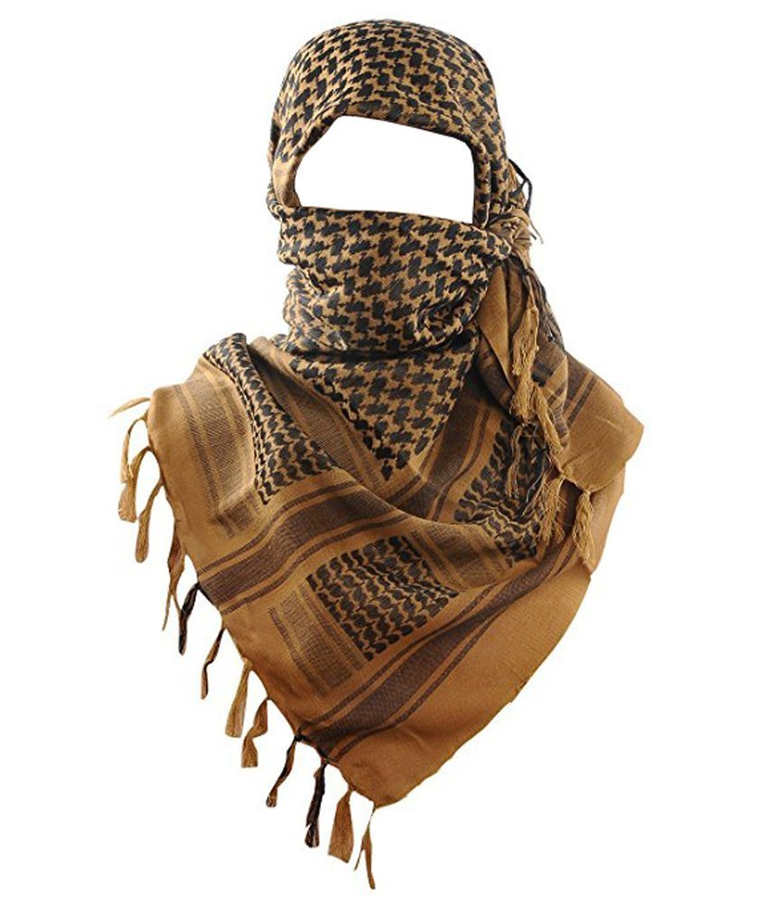 Acme Approved 100% Cotton Military Shemagh Tactical Desert Keffiyeh Head Neck Scarf Arab Wrap (Coyote Brown)