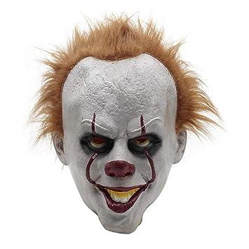 KOBWA Máscaras de látex para Halloween, película Pennywise Cosplay It Mask Dark Knight Joker máscara