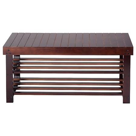 Espresso 36 Solid Pine Wood Shoe Bench Storage Organizer Racks Seat Entryway Hallway