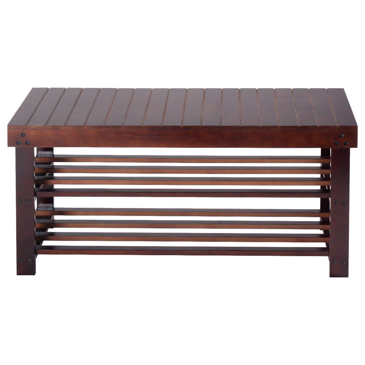 Global House Products GHP 36''x13''x17.9'' Espresso Pine Wood 2-Tier Entryway Slatted Shelf Shoe Rack Storage