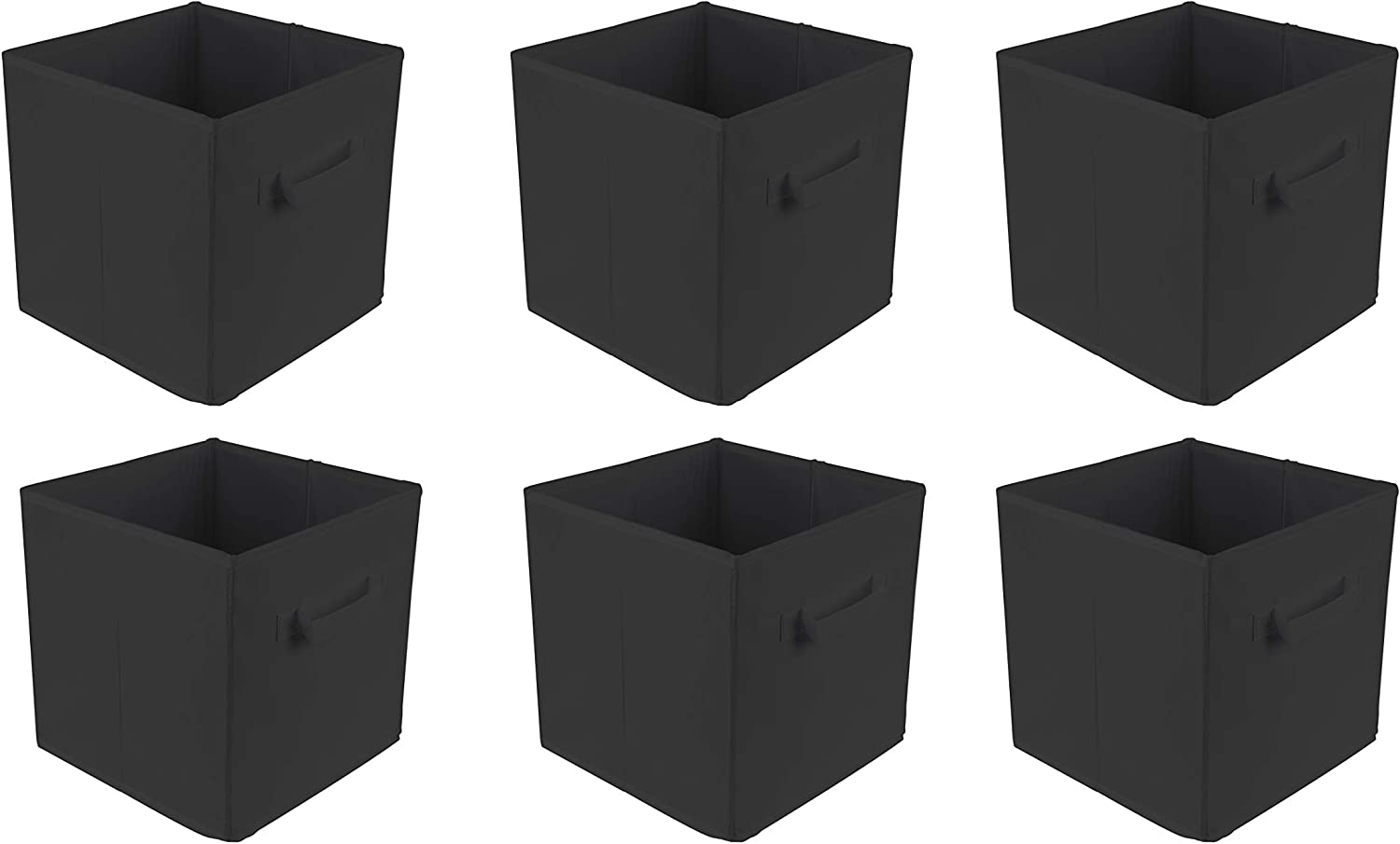 Beige for Home Office Nursery Gym BAAB ORGANIZING 6Pack Foldable Cube Storage Box Organiser Basket Containers with Handles