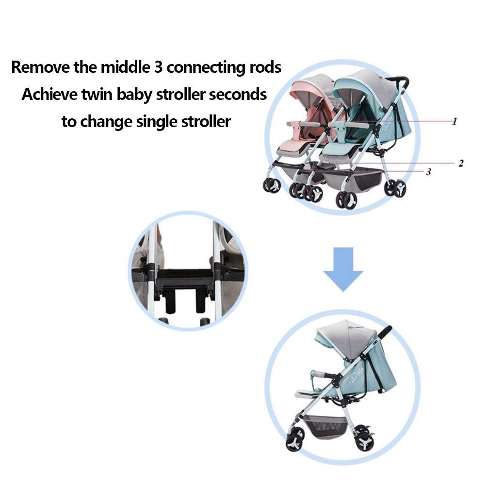 BO LU Double Strollers Double Seats for Twins Foldable Can Sit and Lie with Awning Adjustable Backrest by BO LU (Image #7)